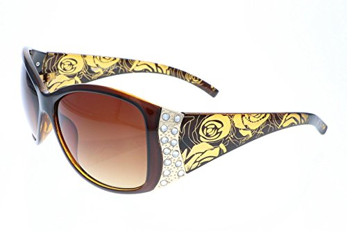 Vox Women's Polarized Sunglasses Designer Fashion Rhinestone Vintage Floral Eyewear – Amber Frame – Amber - Designer Cheap Womens Sunglasses