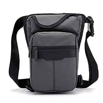 Mens Bag Outdoor Travel Men's Bag, Large Capacity, Lightweight,Gray Pure Color Trend Waterproof Nylon Material Sports Leg Bag, Men's Multi-bag Casual Diagonal Bag, High capacity (Color : Gray)