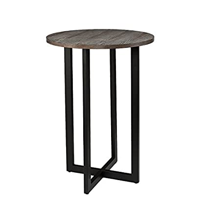 Modern Pub Table, Lightweight Metal Tube Frame Wooden Round Tabletop,  Brown/Black Color