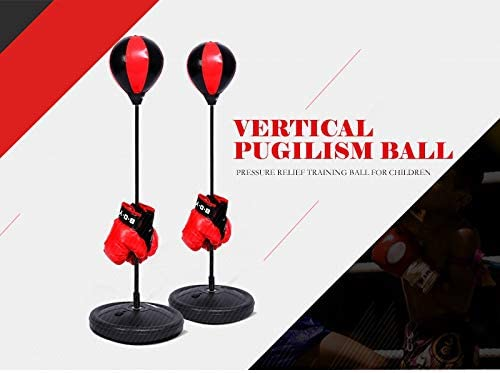 EBTOOLS Punching Ball Set de Boxeo para Ni/ños Bola de Velocidad Saco de Boxeo de Pie Boxeo Pelota con Guantes y Bomba Altura Ajustable 70-105 cm Rellenar con Agua o Arena para Ni/ños y Adolescentes