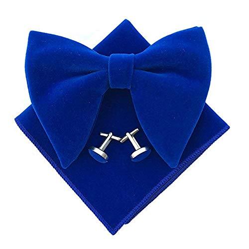 Men Velvet Oversized Bow Tie Pocket Square Cufflinks Set Bowtie Hanky Cuff Links (Royal -