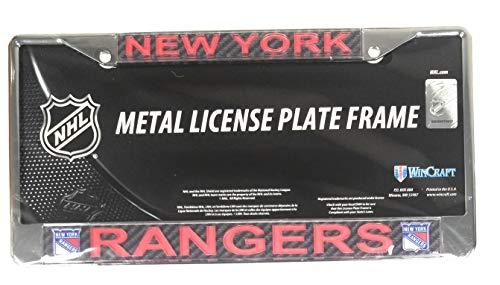 Stockdale New York Rangers Carbon Fiber Laser Frame Chrome Metal License Plate Tag Cover - New York Rangers Laser