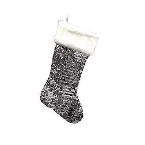 GiftsForYouNow Silver Sequin Christmas Stocking with Fur Cuff, 21