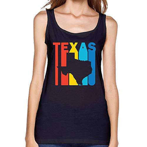 ZHGwen Women's Vest Casual Texas Retro 1970's Style Cotton Tops Black ()
