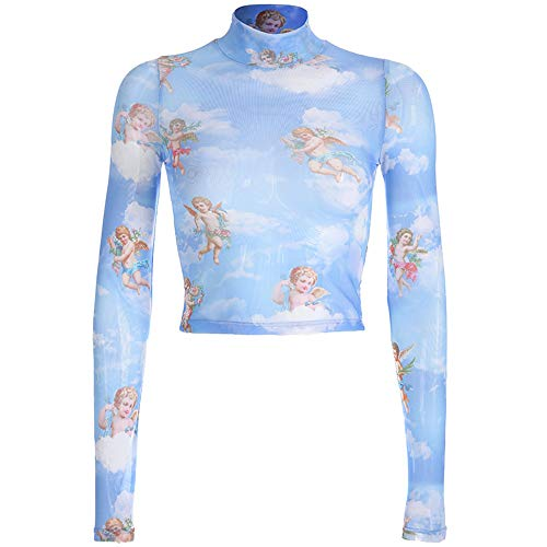 malianna Women Angle Print Perspective Turtleneck Long Sleeve Mesh T-Shirt (M) Blue ()