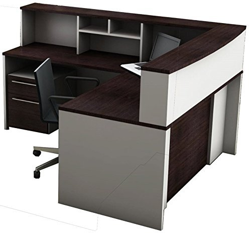 OfisLite 2311 Reception Center Desk Complete Group Including Mobile Filing Cart, White/Espresso, 5 (Reception Table)