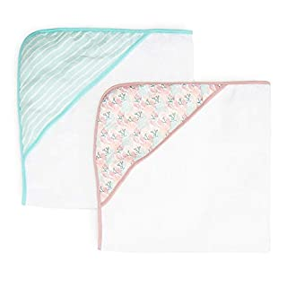 Spasilk Baby 2 Pack Soft Terry Towel with Muslin Printed Hood