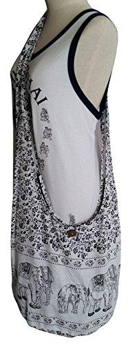 Elephant Cotton Crossbody BELLEZAS Color Hippie Zip Handmade Shoulder Sling Hobo White Bag Bag Purse ZppH6n4