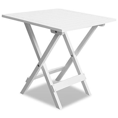vidaXL Outdoor Folding Coffee/Side Table Acacia Wood Garden Patio Deck Furniture White (Acacia Wood Durability Furniture)