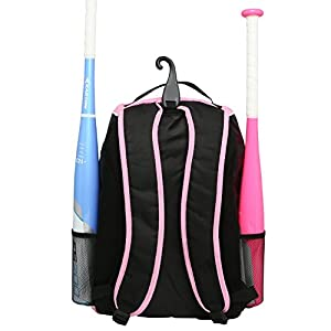 Athletico Softball Bat Bag - Backpack for Softball, Baseball, & T-Ball Equipment & Gear for Kids, Youth, and Adults | Holds Bat, Helmet, Glove, & Shoes | Separate Shoe Compartment, & Fence Hook (Pink)