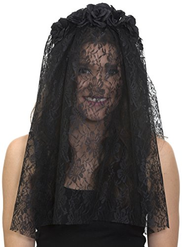 Jacobson Hat Company Women's Day of The Dead Floral Headband with Veil, Black, Adjustable