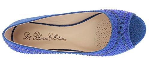 De Blossom Collection Womens Babe Strass Peep Toe Wedding Flats Per Scarpe Da Ballo Prom Ballo (run Smaller) Royal Blue Sparkle