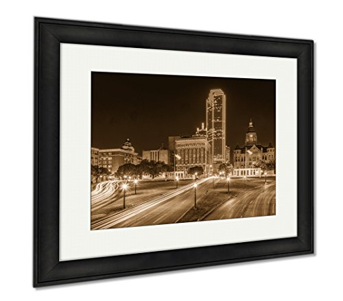 Ashley Framed Prints Little Rock Arkansas USA Downtown Skyline On The Arkansas River, Office/Home/Kitchen Decor, Sepia, 30x35 (frame size), Black Frame, - Hours Plaza Downtown