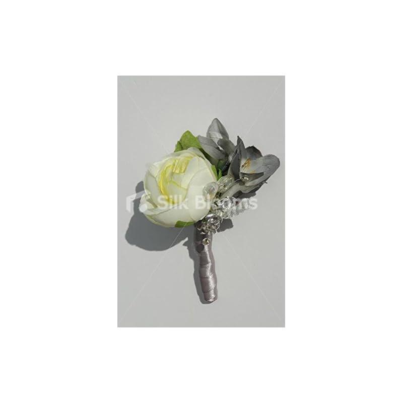 silk flower arrangements silk blooms ltd modern ivory ranunculus & grey freesia buttonhole w/sprays