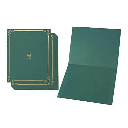 12-Pack Certificate Holder - Diploma Cover, Document Cover for Letter-Sized Award Certificates, Green, 11.2 x 8.7 Inches