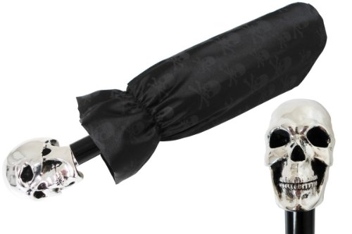 Pasotti Folding Umbrella - Black with Silver Skull - by Sign Me Up