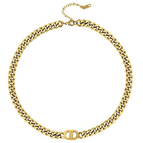 Pinsparkle 8mm Cuban Link Chain For Men Women,Gold Chain For Men Women,18K Gold Plated 316L Stainless Steel Chain Necklaces,Special Double D Design
