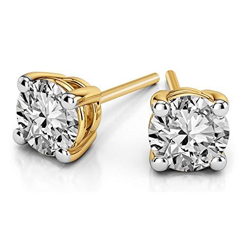 100% Real Diamond Earrings 1/5 cttw IGI Certified Diamond Stud Earrings For Women Natural Diamond Solitaire Earrings I2-GH Quality 14K Gold Diamond Jewelry Gifts (1/5 cttw, Yellow Gold) (1 Carat Solitaire Diamond Ring Yellow Gold)