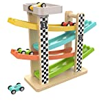 Toys : TOP BRIGHT Toddler Toys For 1 2 Year Old Boy And Girl Gifts Wooden Race Track Car Ramp Racer With 4 Mini Cars