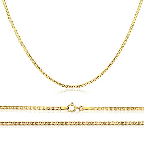 Verona Jewelers 14K Gold Unisex 1.5mm Flat Mariner Gucci Link Chain Necklace- 16