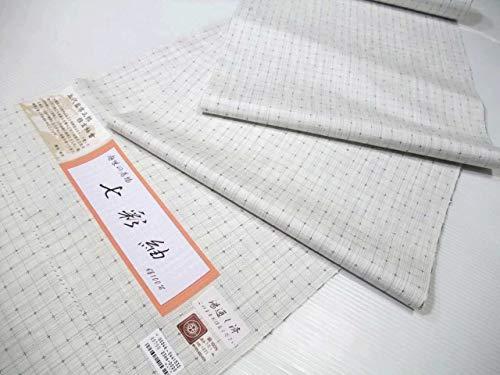 紬小紋 正絹 西陣 七彩紬 白地格子柄 tu145