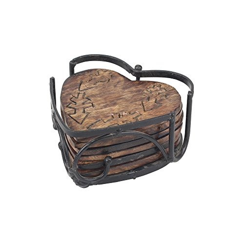 Stonebriar SB-5928A Farmhouse Wooden Heart Shaped Coasters (Set of (Shaped Coasters)