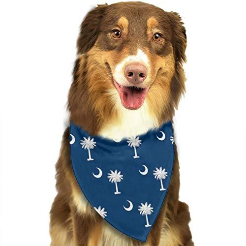 South Carolina Flag Dog Bandana Collars Triangle Neckerchief Puppy Bibs Scarfs Pet Scarfs Cats and Baby Scarf Towel ()