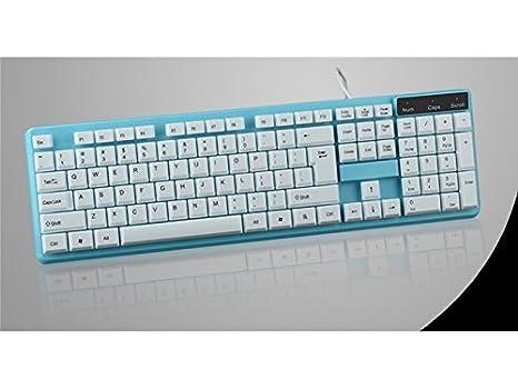 Sunnyshinee Clásico Computadora de Teclado con Cable USB a Prueba de Agua Plug and Play Teclado estándar (Azul para computadora: Amazon.es: Electrónica