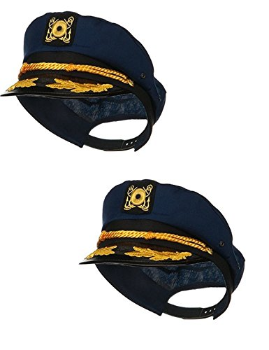 Gilligan's Island Captain Costume (Navy Skipper Sailor Ship Yacht Boat Captain Hat Marines Admiral Blue Gold 2 Pack)