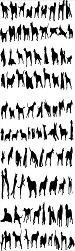 Dog Lover Decor 3D Decorative Film Privacy Window Film No Glue,Frosted Film Decorative,Silhouettes Different Breeds of Dogs Chow Chow Bulldog Shepherd Pinscher Spaniel St Bernard,for Home&Office,17.7x