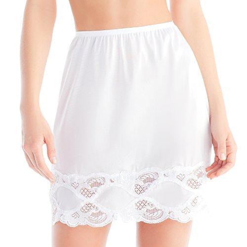 Vintage Half Slip (Ilusion 1017 - Women's Classic Lace Hem Skirt Slip - White, Large 18