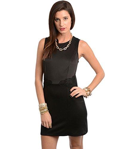 2LUV Women's Sleeveless Lace Accent Shift Dress Black S(ZD50300)
