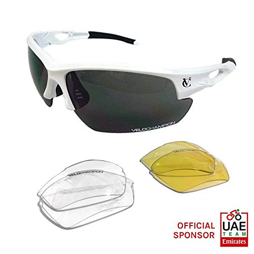 VeloChampion Tornado Sports Sunglasses, White - 3 Sets of - Ray Glasses Sun Ben