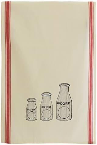 Flint Glass Milk Bottles Vintage Look Cotton Retro Stripe Dish Kitchen Towel Red Stripe
