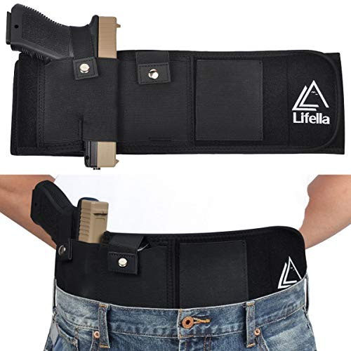 Lifella Belly Band Holster for Concealed Carry Inside Waistband Holster Handgun Carrying System Tactical Elastic Gun Holster for Right Hand with Magazine Pouch for Men Women Running, Hiking, Jogging
