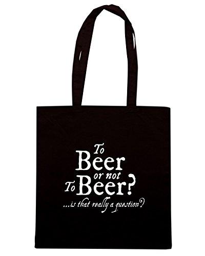 T-Shirtshock - Bolsa para la compra BEER0138 To Beer or not to Beer Negro