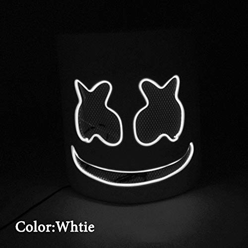 Marshmallow DJ Headpiece, Halloween Glow Mask LED Glow Cotton Candy Headdress Cosplay Mask Concert Props, Bar, Electronic Syllable, Party,White,Normal]()