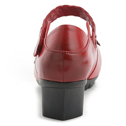 And Shoes Comfortable Flat Women'S Thick Dresses GL Wedding red With Casual Comfortable Leather Round Sandals Satin YC® 37 vB7qn78A