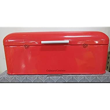 "Coral Red Bread Box - Countertop Stainless Steel Bread Bin - Large Food Storage Container For Bagels Loaves & More- 185C Pantone, Check Coral Red Color (16.5 x 9 x 6.5"") - Bonus Bread Making EBook"