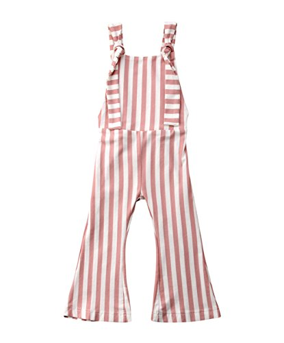 Toddler Kids Baby Girl Stripes Bell-Bottom Jumpsuit Romper Overalls Pants Outfits (Brown Pink, 2-3 T) ()