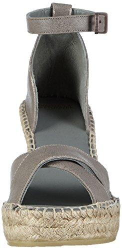 Fred de la Bretoniere Fred Elegant Cross Strap Elegant Espadrille 10cm Heel Calella - Alpargatas Mujer Gris