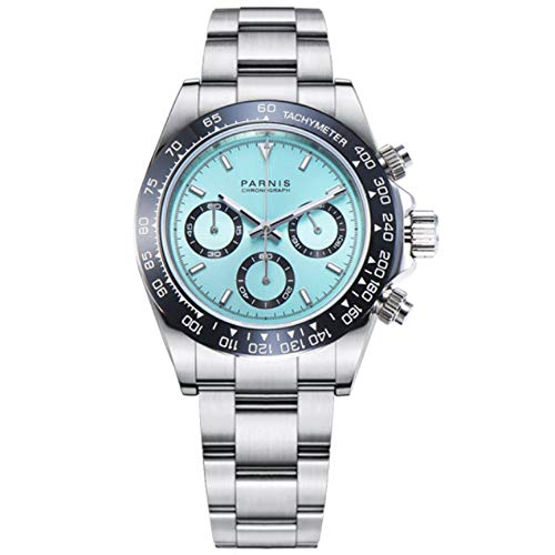 - Sapphire Crystal Parnis 39mm Ice Blue Dial Japanese Quartz Movement Chronograph Function Men's Wristwatch