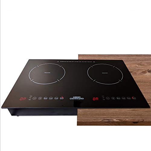 Crawford Kitchen 1800W In-Counter Double Digital Induction Cooktop | Portable Or Built-In Countertop Design | Easy To Clean New Touch Panel Controls (Horizontal Double Burner)