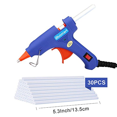 Hot Glue Gun,Blusmart Upgraded Mini Hot Glue Gun with 30 Pcs Melt Glue Sticks, Glue Gun 20 Watts Blue High Temperature Hot Melt Glue Gun for DIY Craft Projects and Home Repair Fast,Life Artistic Creat