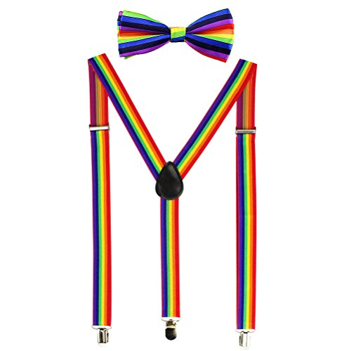 HABIBEE Solid Color Mens Suspender Y Shape with Strong Clips Adjustable Braces (Rainbow)