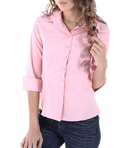 (Brosis Womens Classic 3/4 Sleeve Fitted Shirts, Made in USA (Large, Pink))