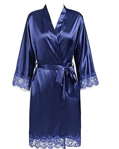 Plus Size Lace Patchwork Bride Bridesmaids Robe Silk Wedding Party Kimono Robes Nightgown Sleepwear bathrob,Navy,XXL