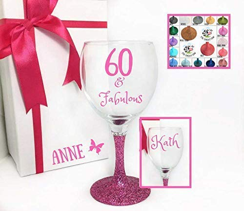 Personalised 60th Wine Glass 60 Birthday Presents For Women Friend Add Name And Gift Box Amazoncouk Handmade