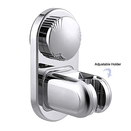 (LEEFE Shower Head Holder 5 Mode Angle Adjustable, Super Power Vacuum Suction Cup Removable Handheld Showerhead & Bidet Sprayer Adhesive Wall Mount Bracket, Waterproof, Heavy Duty, Reusable)