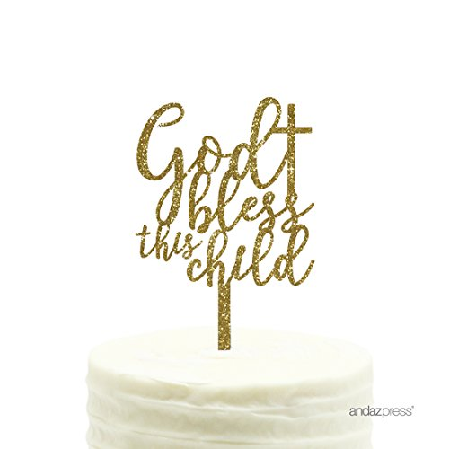 Childs Cake - Andaz Press Baby Baptism Acrylic Cake Toppers, Gold Glitter, Bless This Child, 1-Pack